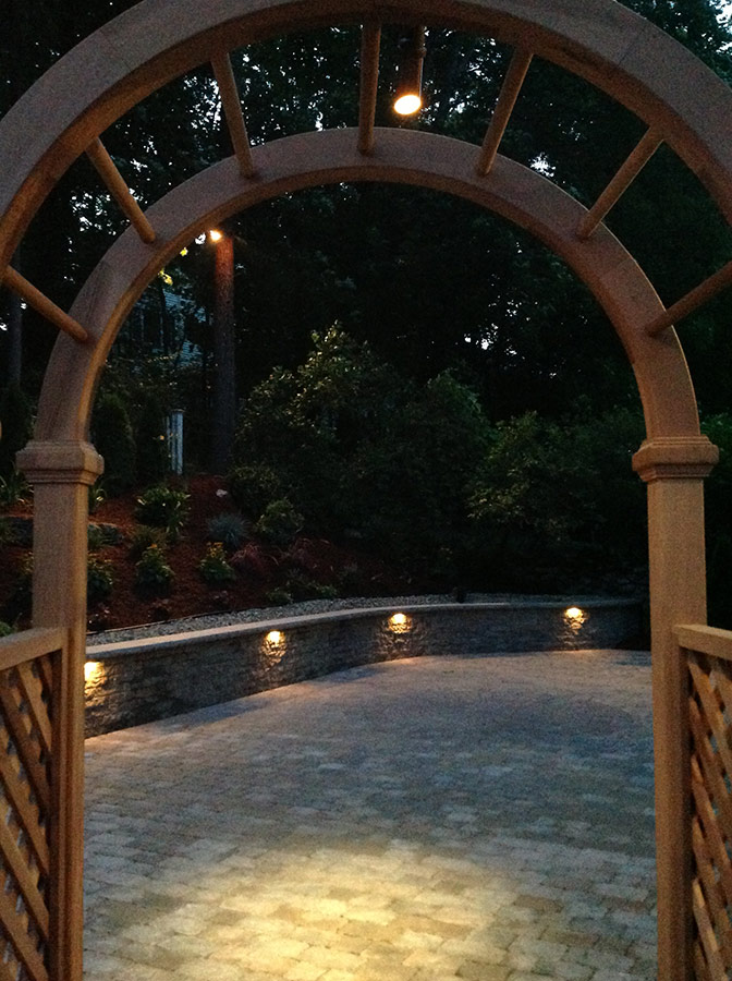 patio wall with lights, patio arbor