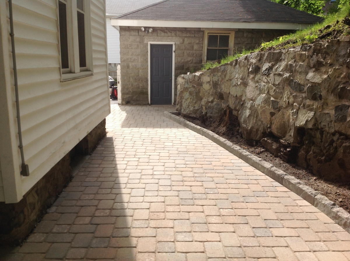 Block patio with curb.
