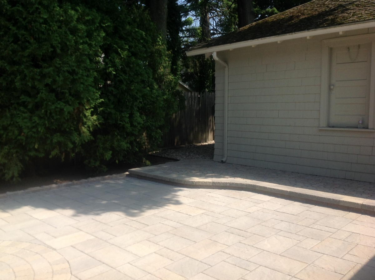 Patio with step-up.