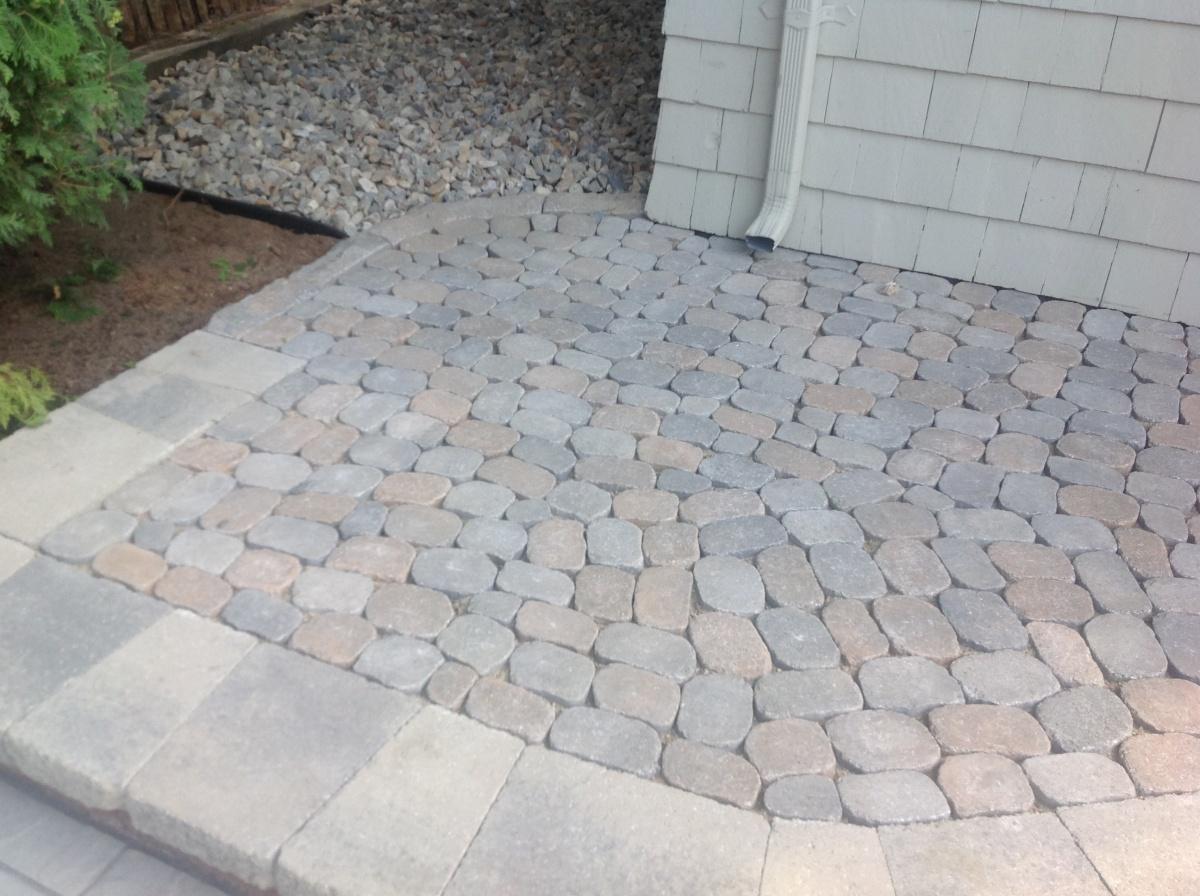 Natural, stone like paver walkway, Lynnfield, MA