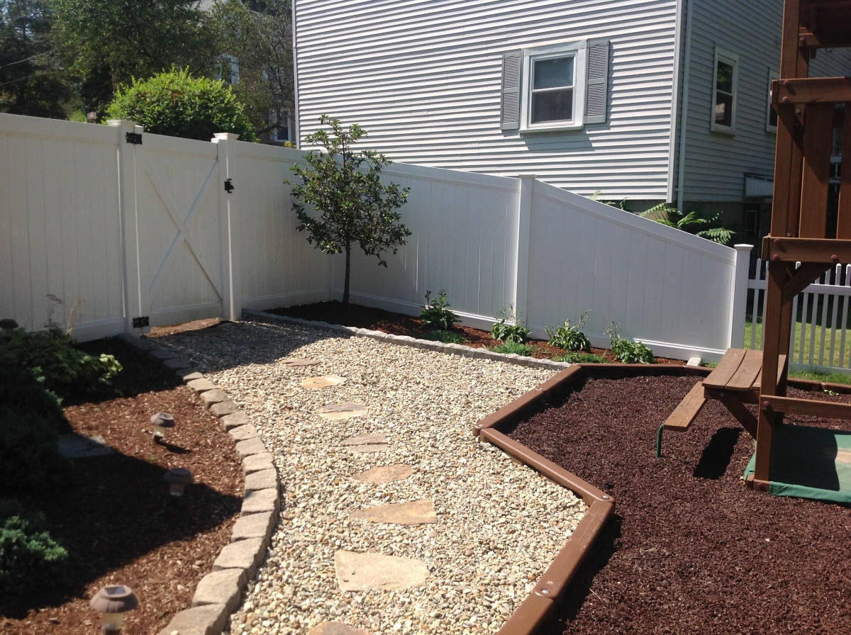 Crushed stone walkway, flag stones