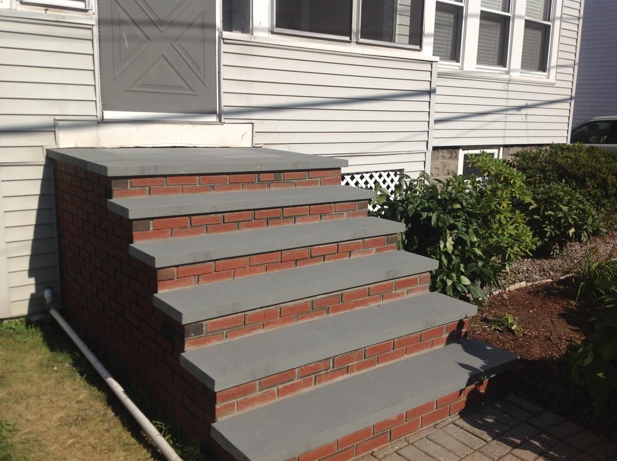 Brick steps, bluestone treads