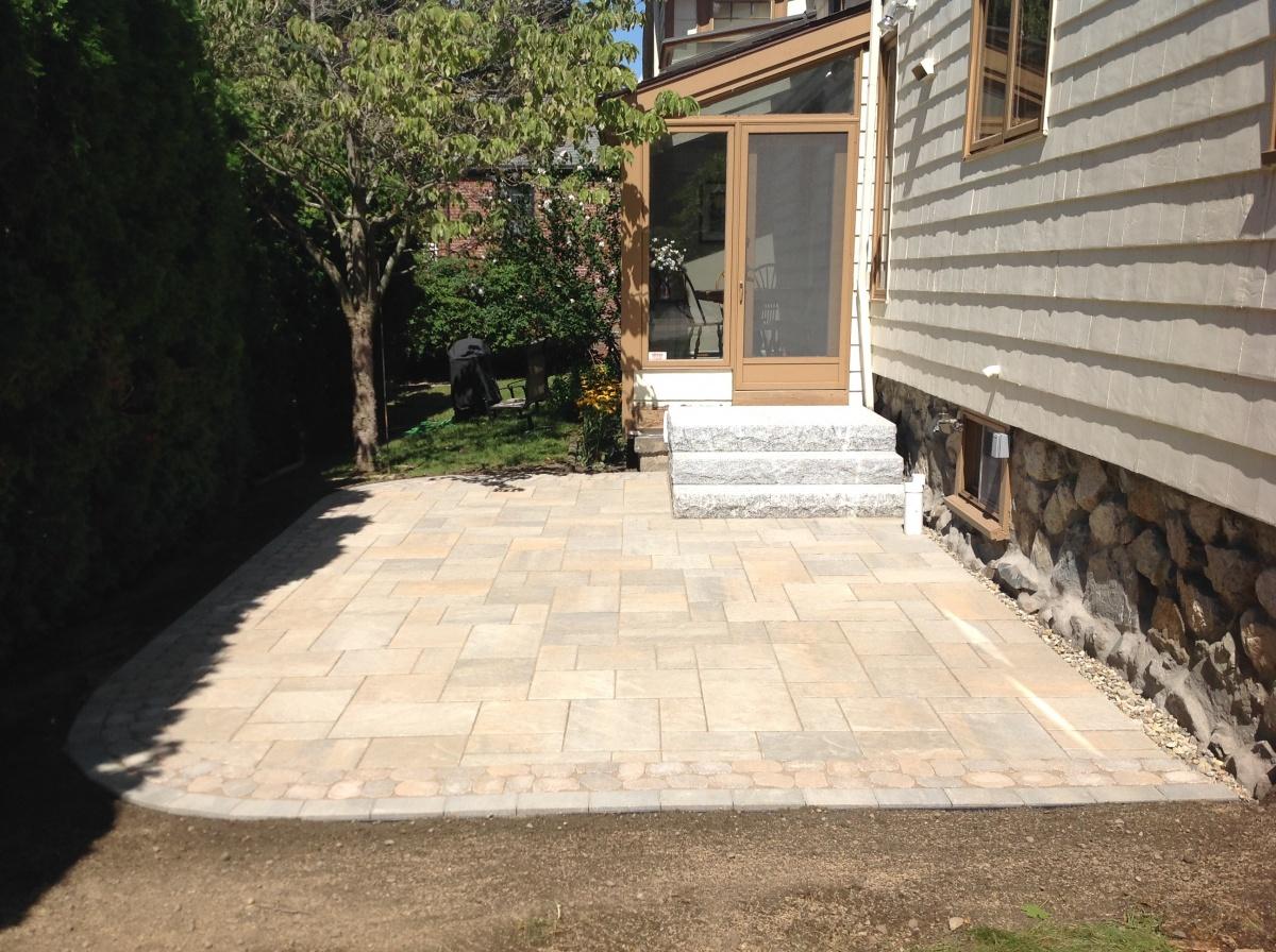 Block patio, border and granite steps.