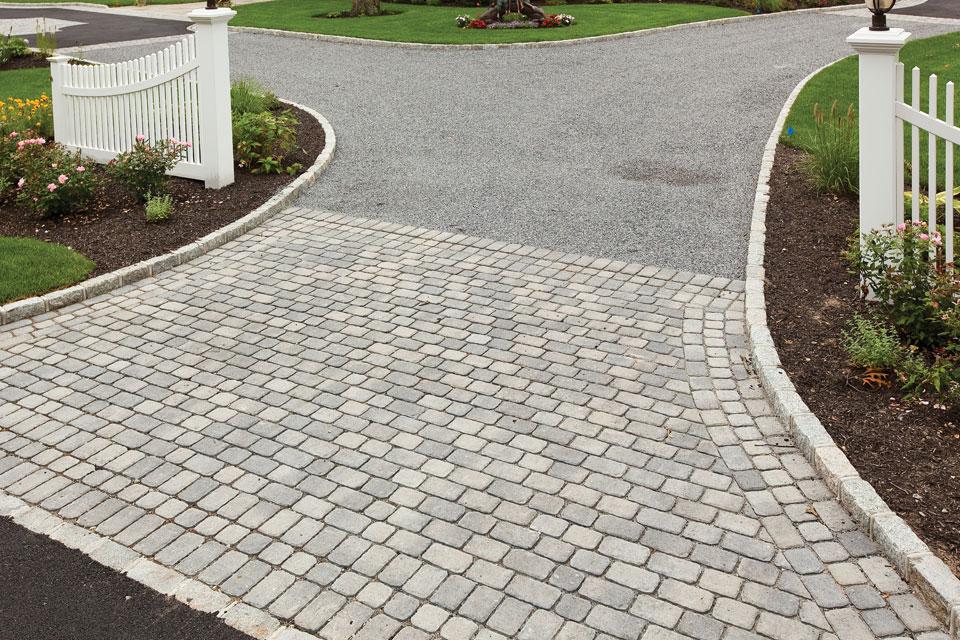 Driveway apron, modern landscaping, Melrose, MA