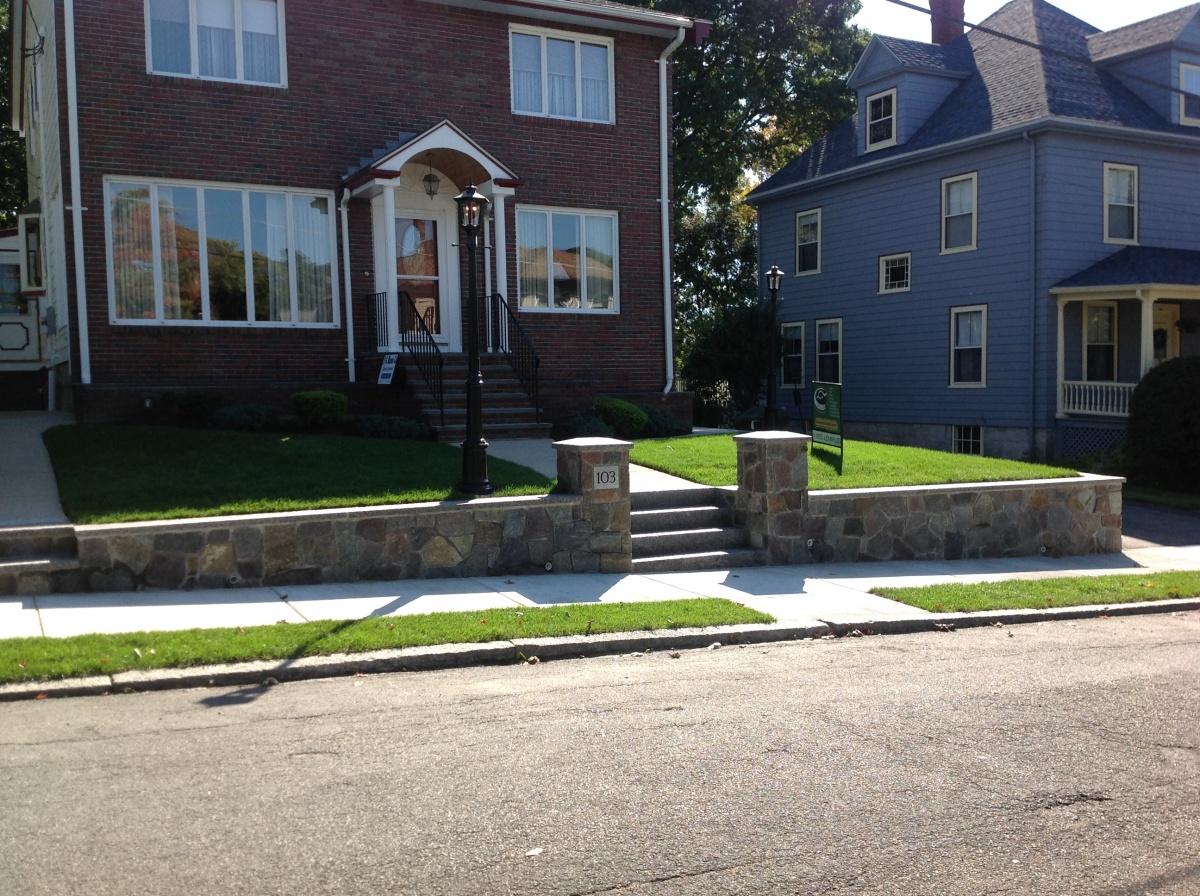 Natural Granite retaining walls, pillars, steps