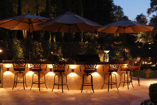 Outdoor kitchen and bar lighting