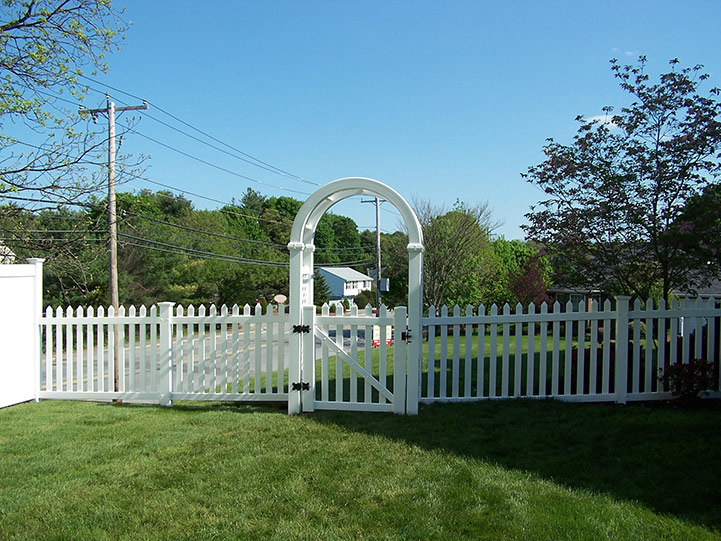 Vinyl Picket Fence with Gated Arbor
