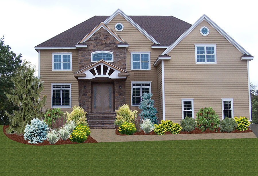 front yard landscaping, Andover, MA