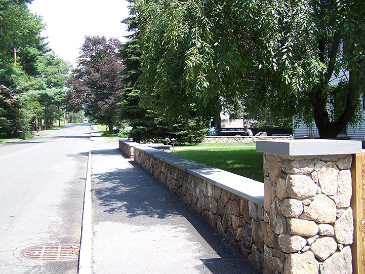 Natural Fieldstone Wall with Bluestone Capping, Melrose, MA