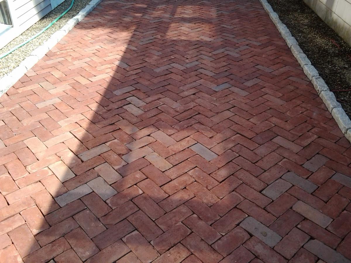 Red brick paver driveway