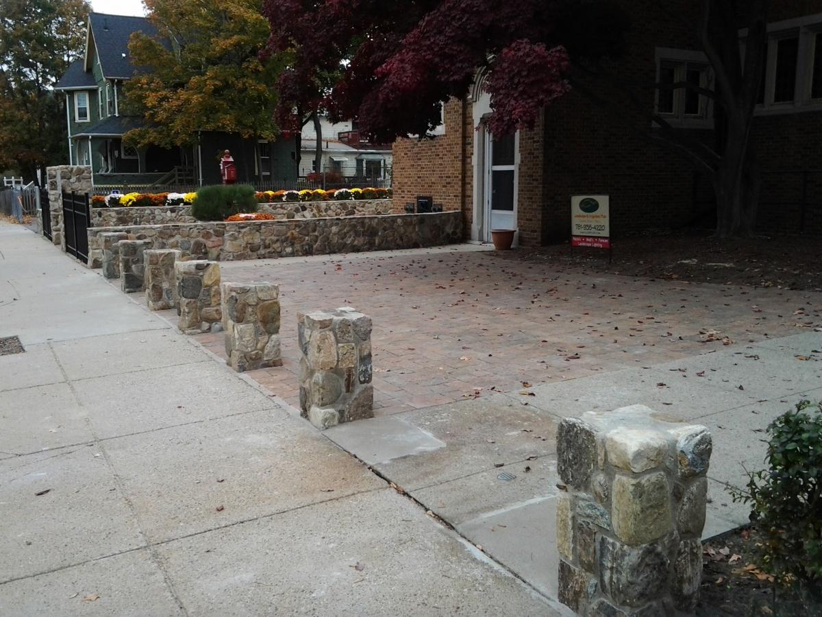 Natural Fieldstone wall and pillars