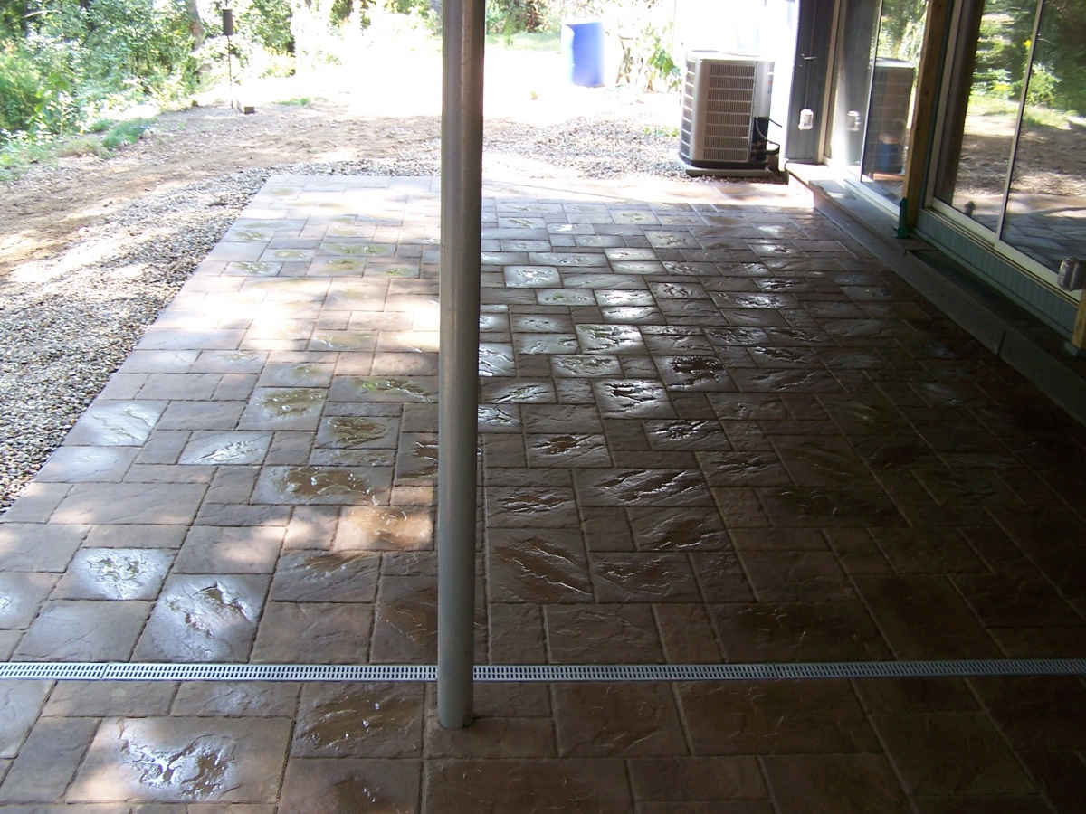 Patio pavers with channel drain.