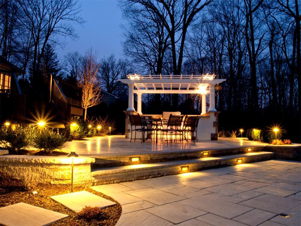 patio lighting and audio installation, Melrose, MA
