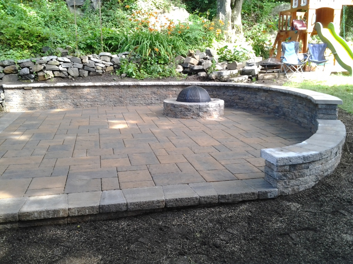 Patio, Fire Pit, Sitting Wall