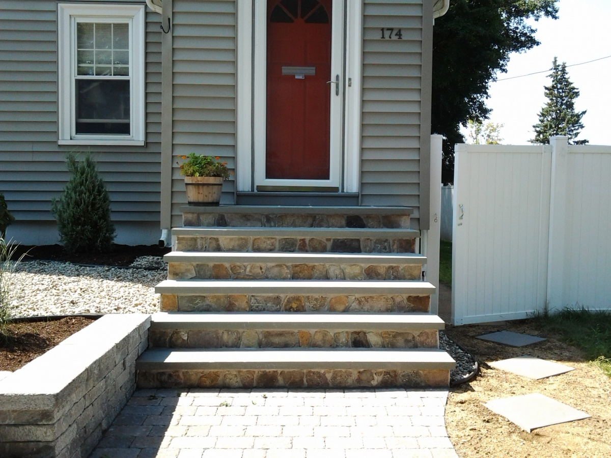 Stairs - Natural Fieldstone steps with Bluestone treads.