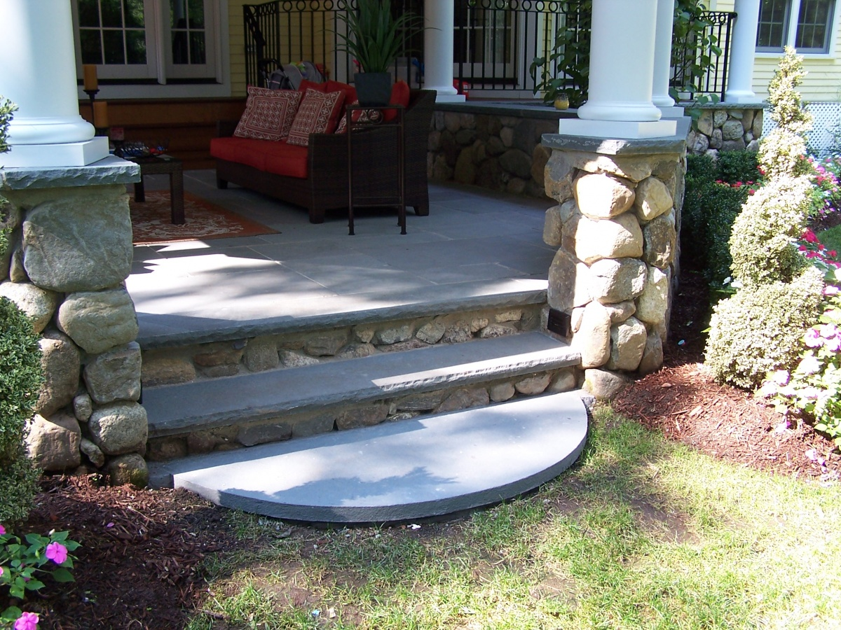 Stone Columns & Stairs. Natural fieldstone walls and steps. Bluestone treads