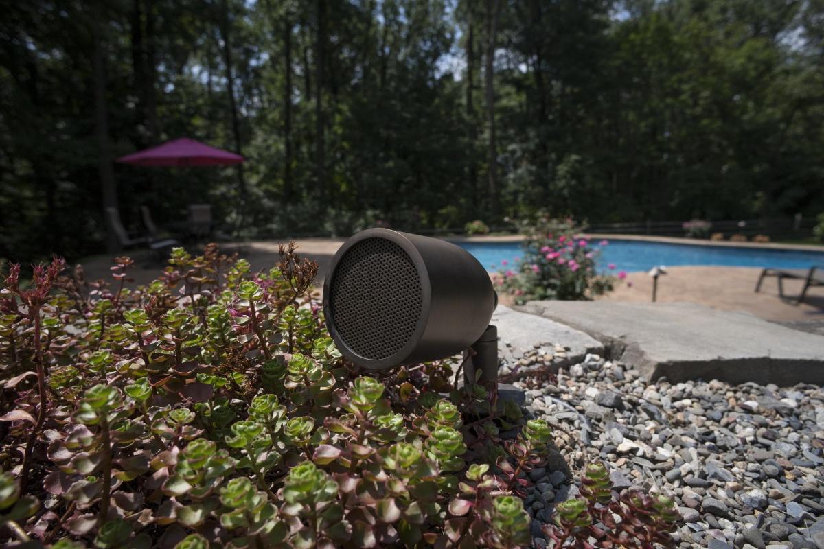 outdoor audio speaker installation, Lexington, MA