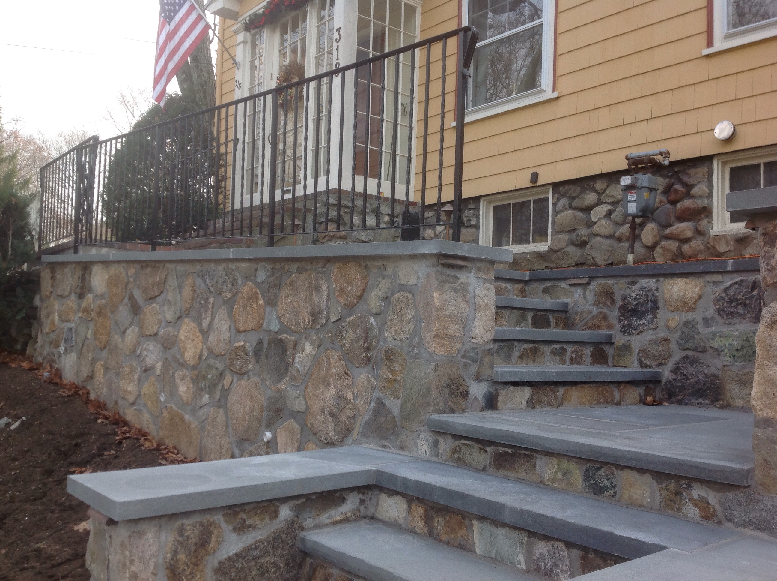Natural Stone steps & walls with Bluestone