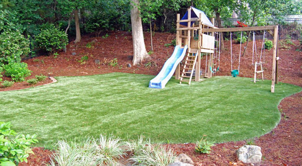 Artificial grass is safer for play areas.