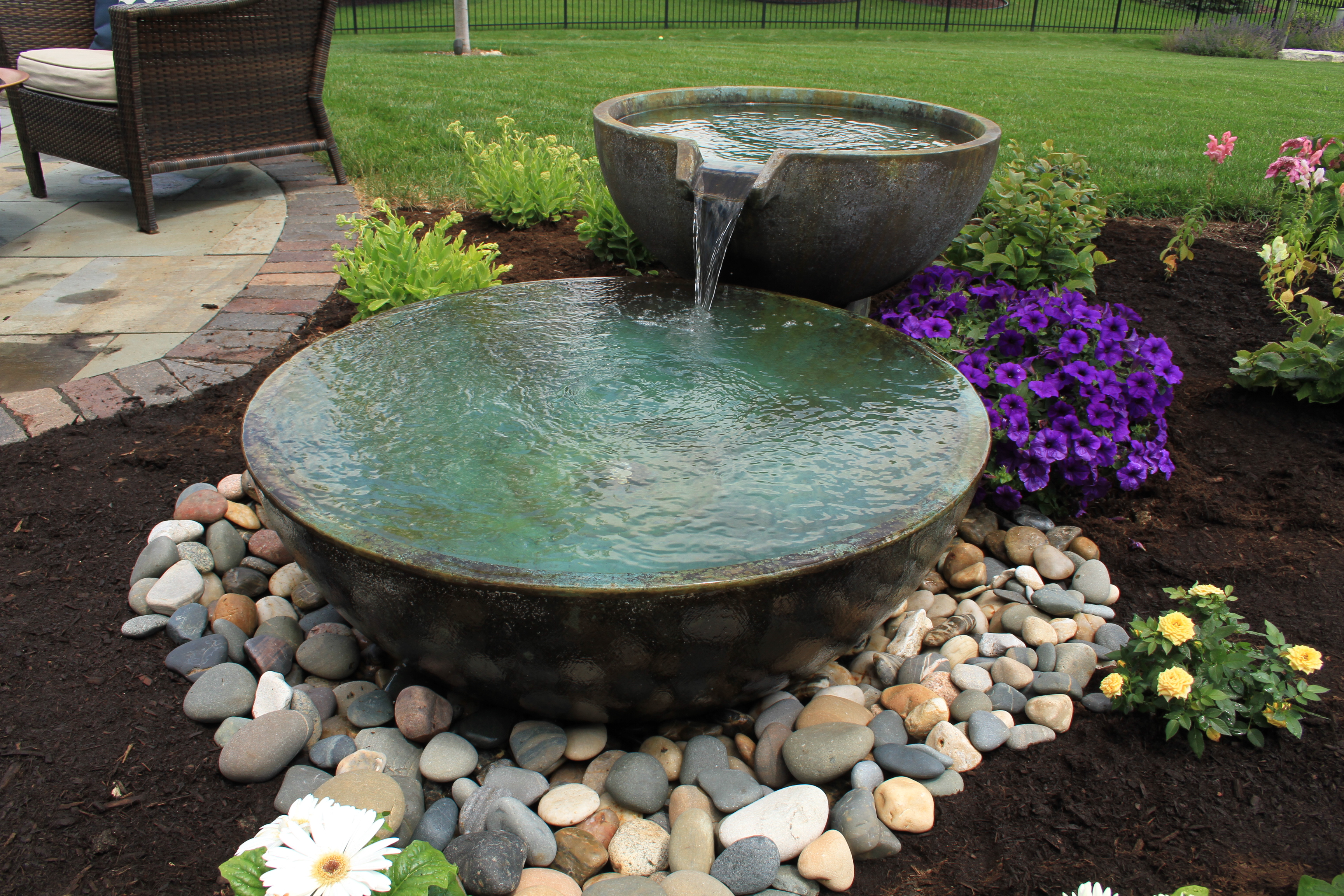 Large flowing water feature, Lexington, MA