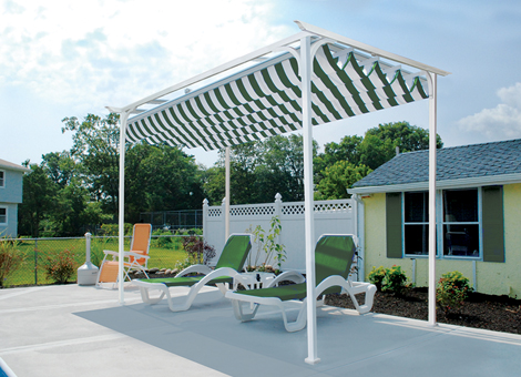 Freestanding arbor with striped canopy