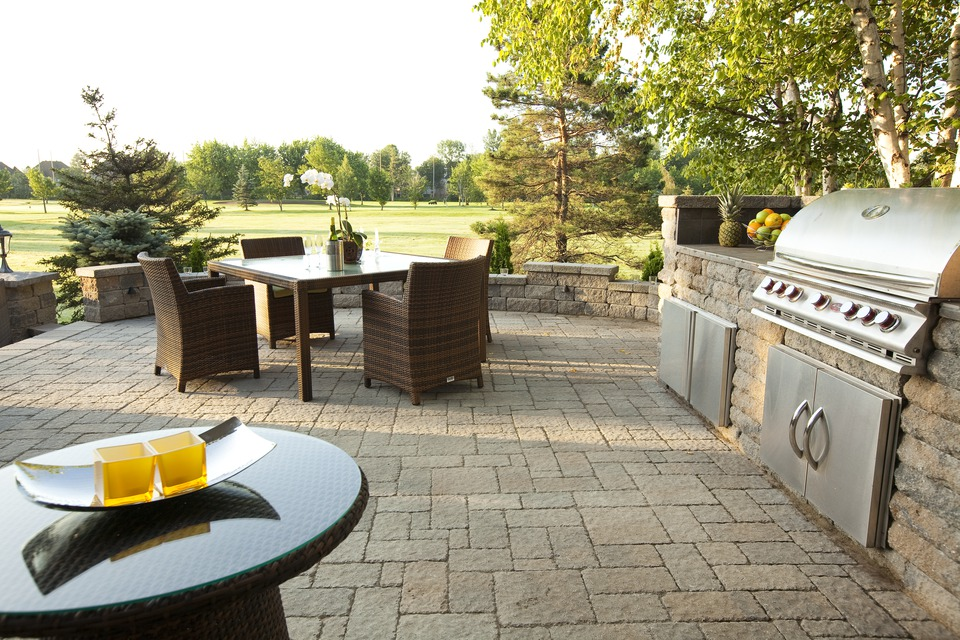 Patio with grill island