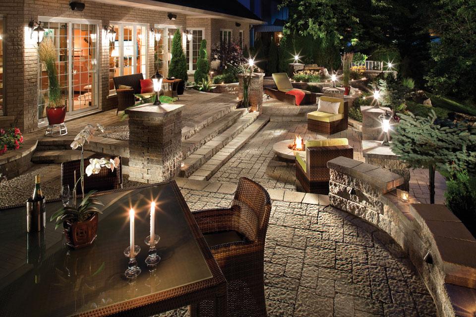 patio pavers, patio lighting designs