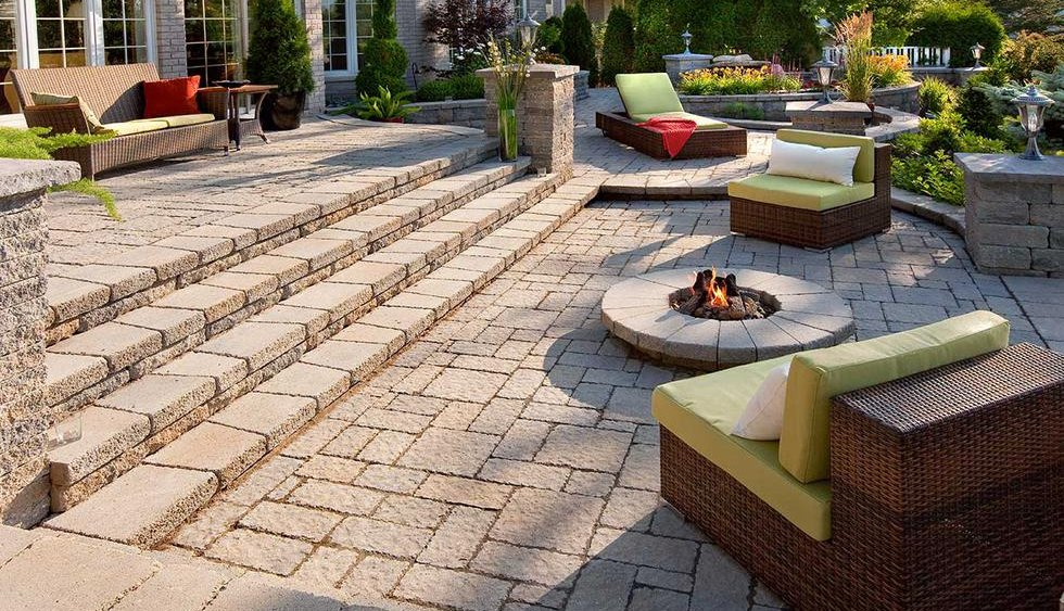 terraced patio with fire pit