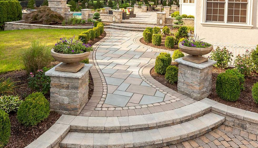 Walkway with border, walkway designs, Melrose, MA