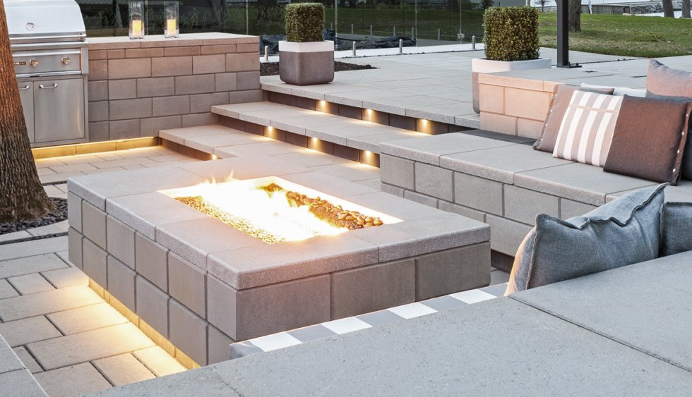 landscape lighting designs, patio fire pit