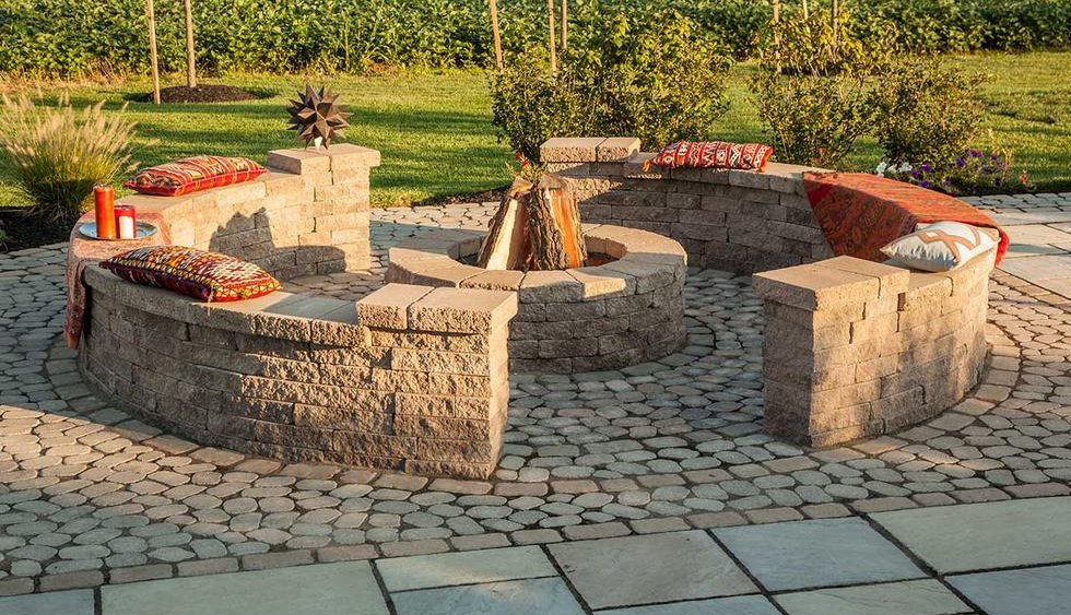Paver Patio area with Sitting Wall and Fire Pit.