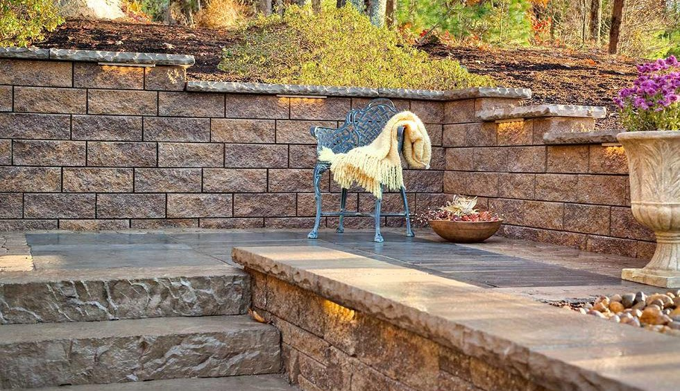 lighted block patio wall