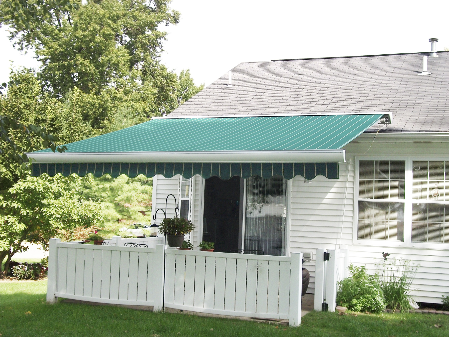 Awning mounted on roof