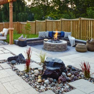 Patio design with pavers and fire pit, Lynnfield, MA