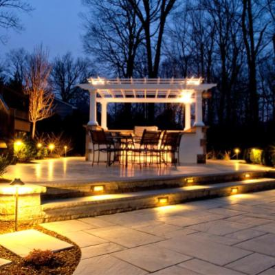 lighted patio with pergola