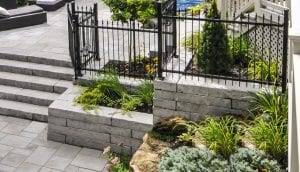 Retaining wall planter installed in Melrose, MA