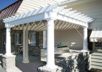 pergola with canopy, Melrose, MA