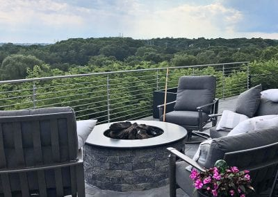 Fire Pit on an upstairs deck